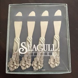 Pewter Pate or cheese knife set